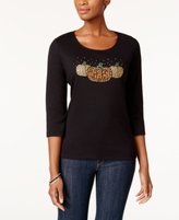 Karen Scott Petite Cotton Embellished Pumpkins Graphic Top, Created for Macy's