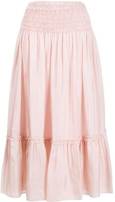 Tory Burch Corded smocked silk skirt