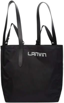 Lanvin Black Satin Twisted Shopper Tote