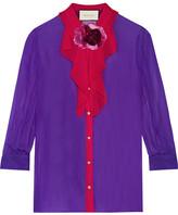 Gucci Two-tone Silk-georgette Shirt - Purple