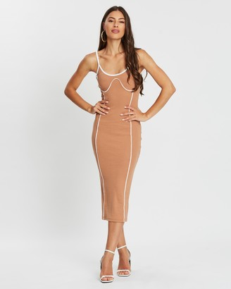 Missguided Contrast Seam Ribbed Strappy Midi Dress