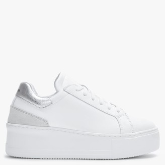 Daniel Sibley White Leather Silver Flash Flatform Trainers