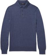 Ermenegildo Zegna Cashmere And Silk-blend Polo Shirt - Blue