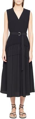 3.1 Phillip Lim V-Neck Crepe Tank Dress w/ Shirred Skirt