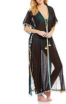 Gianni Bini Solid Maxi Dress with Poms Cover Up