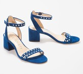 Sole Society Suede Ankle Strap Sandals with Studs- Hezzter