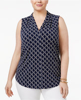 Charter Club Plus Size Printed V-Neck Top, Only at Macy's
