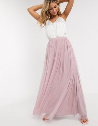 Beauut tulle maxi skirt in soft pink