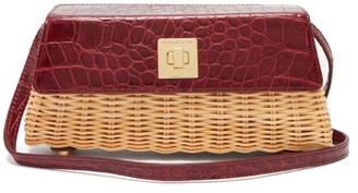 Sparrows Weave - The Clutch Wicker And Leather Cross-body Bag - Womens - Burgundy