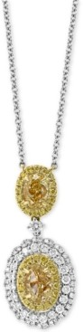 """Effy Hematian Diamond Double Oval Halo 18"""" Pendant Necklace (2-1/4 ct. t.w.) in 18k Gold & White Gold"""