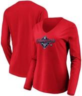 Majestic Women's Red Washington Nationals 2019 National League Champions Bullpen Long Sleeve V-Neck T-Shirt