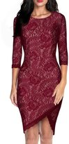ACHICGIRL Women's Lace Irregular Silhouette Half Sleeve Body-con Dress