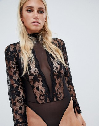 Asos Design DESIGN high neck lace & mesh long sleeve thong bodysuit-Black