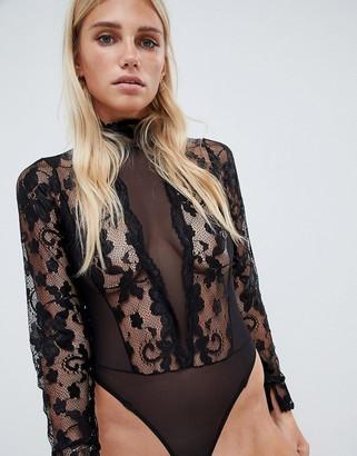 ASOS DESIGN high neck lace & mesh long sleeve thong bodysuit