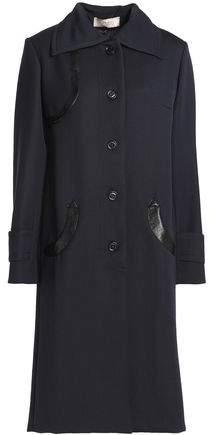 Nina Ricci Snake-effect Leather-trimmed Wool Coat