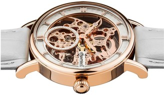 Ingersoll 1892 The Herald White and Rose Gold Skeleton Dial White Leather Strap Ladies Watch
