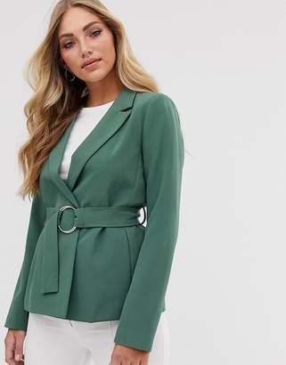 Vila belted blazer-Green