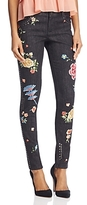 Alice + Olivia Jane Embroidered and Studded Skinny Jeans in Washed Black