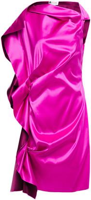Lanvin Gathered Draped Silk-satin Mini Dress