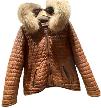 Oakwood Camel Raccoon Leather Jacket for Women