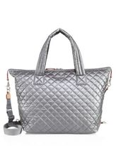 M Z Wallace Large Sutton Quilted Metallic Nylon Duffle Bag
