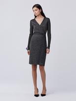 Diane von Furstenberg Evelyn Metallic Knit Wrap Dress