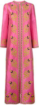 Tory Burch embroidered trim flared coat - women - Silk/Cotton/Polyester - 6