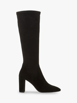 Dune Siren Stretch Block Heel Almond Toe Boots, Black