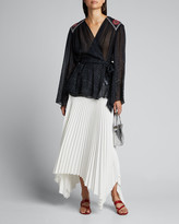 Camilla Printed Wrap Blouse with Embroidered Yoke