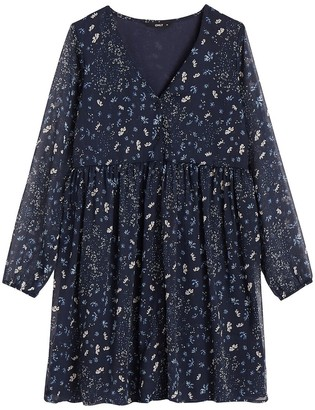 Only Flared Floral Mini Dress with V-Neck and Long Sleeves