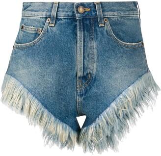 Saint Laurent Feathered Hem Denim Shorts