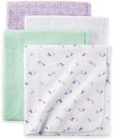 Carter's 4-Pack Birdie Receiving Blankets in Mint/Lavender