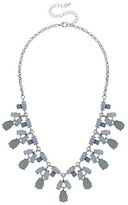 Women's Necklace with Oval Stones and Faceted Teardrops - Blue