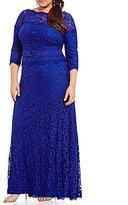 Tadashi Shoji Plus Two-Tone Corded Lace Gown