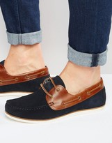Asos Boat Shoes in Navy Suede With Tan Leather Facings