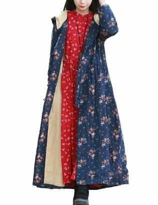 LZJN Women's Long Trench Coat Floral Print Hood Jacket with Chinese Frog Buttons (Blue One Size)