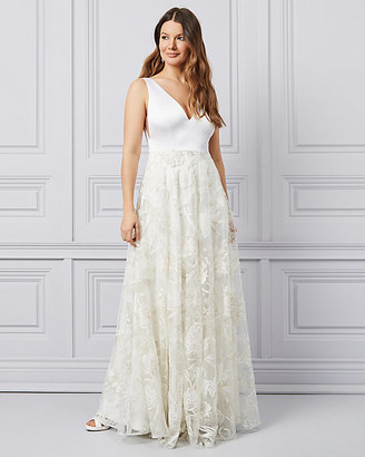 Le Château Embroidered Tulle V-Neck Ball Gown