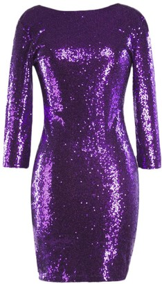 IBTOM CASTLE Womens Ladies Sexy Sequins Shiny Glitter Bodycon Bandage Dress Long Sleeve Crew Neck Purple M