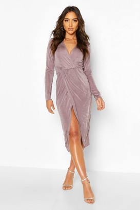 boohoo Textured Slinky Twist Detail Midi Dress