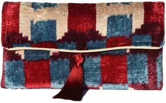 Punica Stunning Blue & Red Velvet Ikat Clutch
