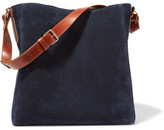 Lanvin New Hobo Leather-trimmed Suede Tote - Midnight blue