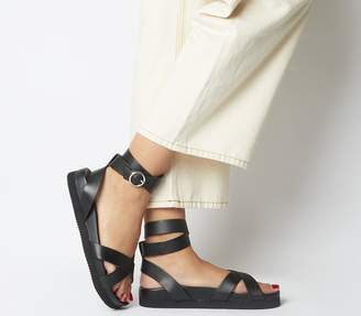 Office Superior- Ankle Strap Footbed Sandals Black Leather