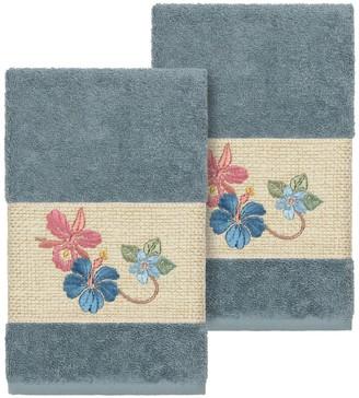 Linum Towels Teal Caroline Embellished Hand Towel - Set of 2