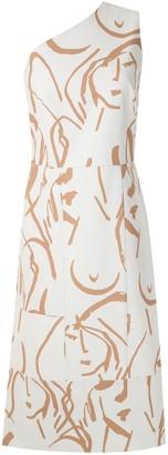 Andrea Marques Printed Asymmetric Dress