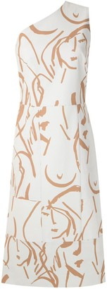 Andrea Marques Printed Asymmetric Dress