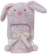"Elegant Baby Giftable Pink Bunny Aviator Hat with Fleece Lining and Soft, Cream, 30x34"" Ultra Plush, Soft Stroller Blanket by"