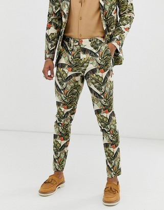 ASOS DESIGN skinny suit pants in cotton with leaf print
