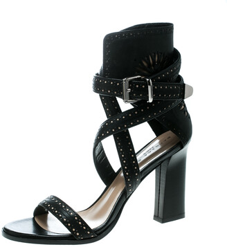 Barbara Bui Black Laser Cut Motif Perforated Leather Ankle Cuff Strappy Block Heel Sandals Size 41