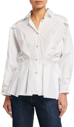 Palmer Harding Sunda Cinched-Waist Button-Down Shirt