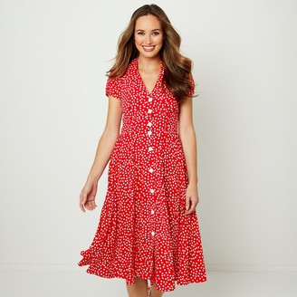 Joe Browns Floaty Midi Shirt Dress in Polka Dot with Buttons and Short Sleeves